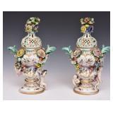 Pair of Meissen Potpourri Covered Urns