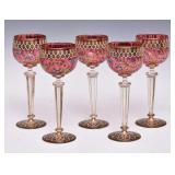Set of Five Bohemian Wine Glasses