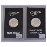 Two Carson City Silver Dollars