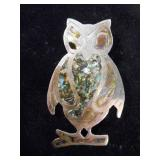 Lrg. Vtg. Sterling Silver Owl Brooch