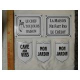 5 French Porcelain Metal Signs