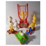 Vintage Woodstock and Snoopy Plastic Toys