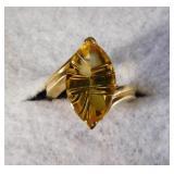 14kt Designer Fantasy Cut Citrine Ring