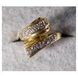 14kt Diamond Bypass Ring