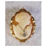 10kt Vintage Shell Cameo Pendant/Brooch