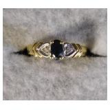 14kt Blue Sapphire and Diamond Ring