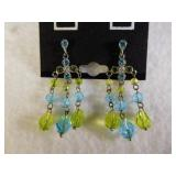 Sterling Silver Colorful Gem Dangle Earrings