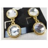 Trifari Rose Cut Crystal Earrings