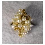 14kt Cultured Pearl and Diamond Ring