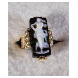 10kt Vintage cameo and Seed Pearl Ring