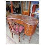 Vintage Kidney Shaped Desk and Chair