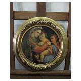 Vintage Madonna Della Seggiola Round Wall Art