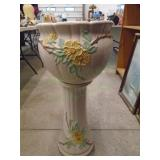 Large 2pc Weller Flower Pot and Stand Set