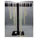 16 Different Pearl Necklaces and pair of earrings