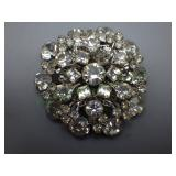 Large Vintage Clear Rhinestone Brooch
