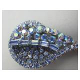 Beautiful Weiss Blue Rhinestone Vintage Brooch