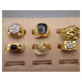 6 18kt Heavy Electroplated Gold Rings