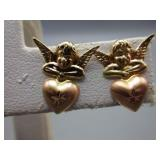 Pair of 14kt Gold Cherub Angel/Heart Earrings