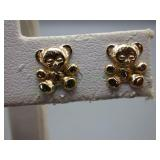 Small Pair of 14kt Gold Earring with Teddy Bears