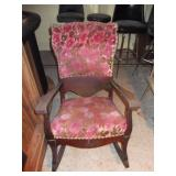Vintage Wooden and Fabric Rocker