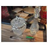 2 Crystal Bar Items Ice Bucket and Decanter