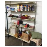 Contents of 5 shelves, paint, hat rack & misc