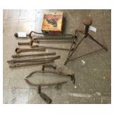 Group of blacksmith tools, farrier stand, misc