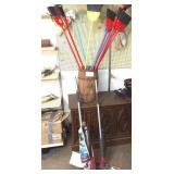 Nail keg and brooms