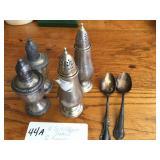 4-sterling silver salt/pepper shakers &