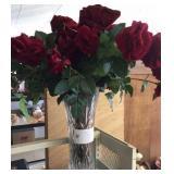 Crystal vase w/roses