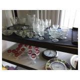 Misc. glass & items on 2-shelf unit