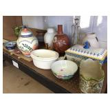 Vases, Bowls, and Misc on bottom shelf