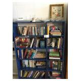 Blue bookshelf w/books