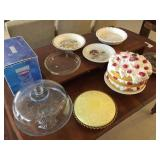 Pie plates and cake stands on table