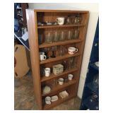 revolving wood shelves & contents