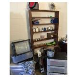 plastic organizers, shelf & contents