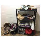 shelf, contents, 2-car seats & potty chair