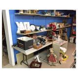 misc. items on 2-shelves, tables & 2-wood shelves