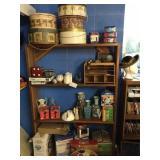 wood shelf & contents