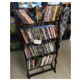 DVD rack & contents
