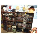 2-wood shelves w/DVDs & misc items