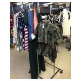 rack of NEW camo & misc. clothes