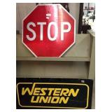 fiber STOP & metal Western union sign