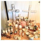 group: salt & peppers, creamers, crosses, misc