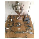 "heavy statue 22"" H , metal candle holders & decor"