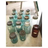 15 blue Ball & Atlas jars w zinc lids, misc