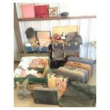 7 old trunks, military clothes, pillows, luggage,