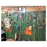 saws, blades, & all  misc hrdware on wall