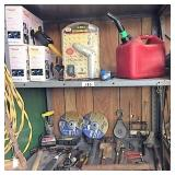 misc tools & hrdware on 2 shelves