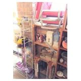 rack & contents, wood shelf & contents,